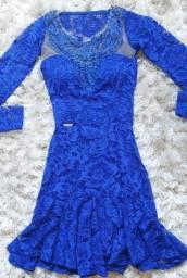 Vestido azul Royal com renda