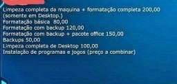Formatação e limpeza de pcs e notebook