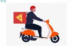 Entregador com moto e bag