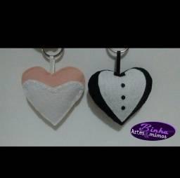 Lembrancinha de casamento noiva e noivo chaveiro