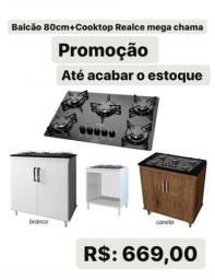 Fogão cooktop + balcão 80cm promoção promoção de fábrica