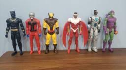 Coleção de 6 bonecos originais 30 cm das marcas Marvel, Hasbro, DC Comics