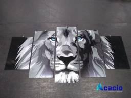 Quando em mosaico - modelo leão Preto e Branco
