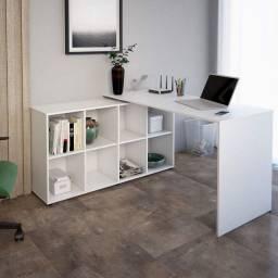 Mesa escrivaninha branca em L