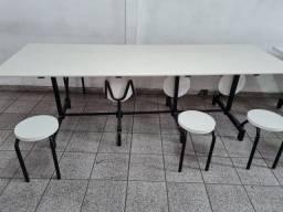 mesa refeitorio 2,40 com 8 bancos escamoteaveis