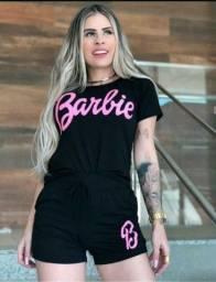 Conjuntos Shorts Blusa Cropped Barbie Feminino Lançamento 2021