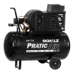 Compressor de Ar Pratic Air CSI 7,4/50 - 127/220V com rodas Schulz (Novo)