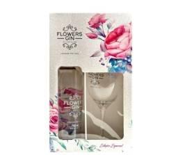 Kit Gin Flowers garrafa 750 ml+ 1 taça