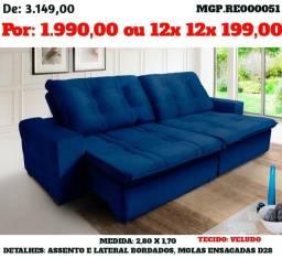 Sofa Retratil e Reclinavel 2,80 Molas e Veludo e Bordado - Estofado em Veludo, Molas