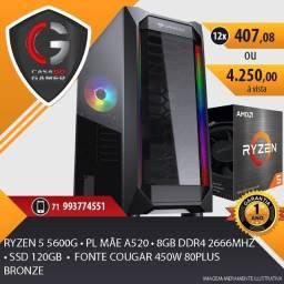 PC Gamer Ryzen 5 5600G 8gb 2666mhz Placa Mãe A520 Fonte 450W 80Plus ssd 120gb