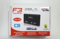 Case HD externo USB 2.0 F3 - Novo/com Hd de 1tb - NOVO