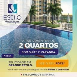 Título do anúncio: Apartamento 2 Qrts| 1 Suite| Varanda| 1 Vaga| Elevador| Região Ponta Negra|R$ 243 mil