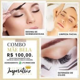 Design de Sombrancelha + Limpeza facial + Extensão de cílios