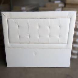 Cabeceira Tamires para Cama Box Casal 140 cm Courino Branco