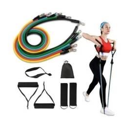 Kit Extensor Elastico 11 Pecas Exercicio Musculacao Fitness Pilates<br>(Frete grátis)