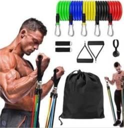 Promoção voltou: Kit elástico extensor para exercícios em casa/musculação com 11pçs