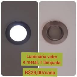 Luminária vidro e metal 1 lâmpada