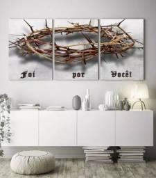 quadro decorativo jesus foi por você coroa de cristo para sala grande