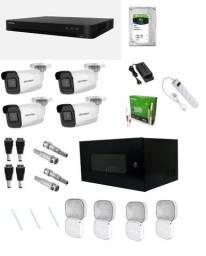 Combo CFTV profissional - 4 câmeras Full HD + DVR + HD + infra