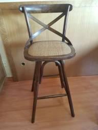 Cadeira (banqueta) Palha Trançada Firenze Trend House - marrom escuro