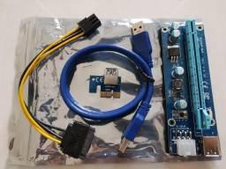 Riser Card Pci-e X1 Para Pci-e X16 Usb 3.0 Sat