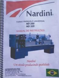 Manual De Instrução Peças E Manutenção Do Torno Mecanico Nardini Nd 250-nd 325