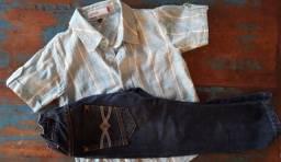 Conjunto infantil Camisa xadrez manga curta e calça jeans tamanho 4