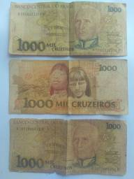 3 notas de 1000 cruzeiro