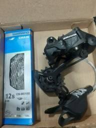 SRAM: Câmbio SX, passador NX, corrente 6100 shimano