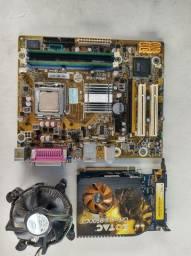 Kit placa mãe processador memória e placa de video