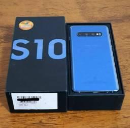Samsung S10 128gb azul cartão 4x sem juros caixa nota garantia aceito celular como pagto