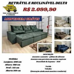 Sofá retrátil e reclinável Delta