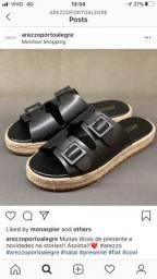 Vendo rasteira sandália arezzo couro preto 35