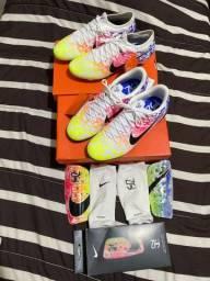 Chuteira nike pro campo e chuteira Nike TF society numeração 41 + caneleira profissional M