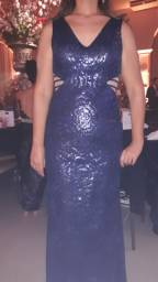Vestido de paetê Azul Marinho escuro