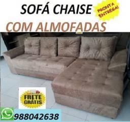Peça Agora e Receba no Mesmo Dia!!Sofa Chaise Com Almofadas Com Frete gratis!!
