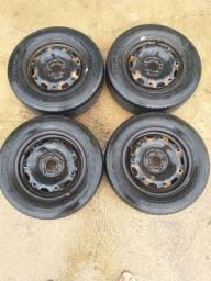 Rodas de ferro aro 14 5×100 montadas com peneus
