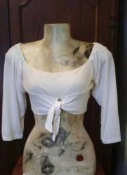 Cropped Top Branco Modelo Ciganinha