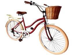 bicicleta retrô passeio com vime e bagageiro aro 26 adulto nova em até 12x sem juros