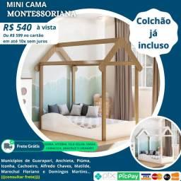 Mini Cama Casinha Montessoriana Uli + colchão - Peroba Móveis