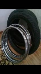 Título do anúncio: Aros e pneus 18 de moto