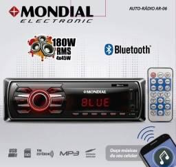 Auto rádio mondial AR-06 180W (Bluetooth e Controle Remoto)