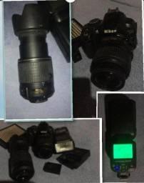 Câmera D-3100 e acessórios (Excelente estado)