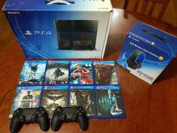 Playstation 4 + Headset Gold Wireless + 2 Controles + Jogos