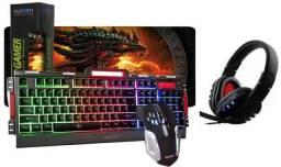 Kit Teclado Semi Mecânico Gamer Bk3000 + Mp Grande+headset