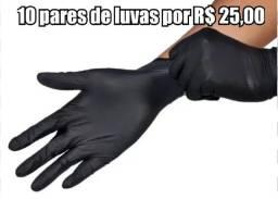 10 pares de luvas tam M por 25 reais novas, pretas