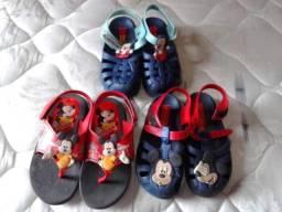 Lote 3 Percartas e Chinelos Infantis Calçados Mickey Crianças