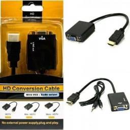 Hdmi Para Vga Com Áudio P2 Conversor Adaptador De Vídeo, entregamos