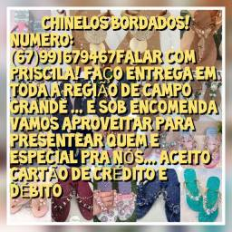Chinelos bordados cabedal !!