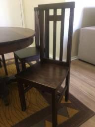 Vendo mesa em madeira maciça jacarandá com 4 cadeiras em madeira maciça